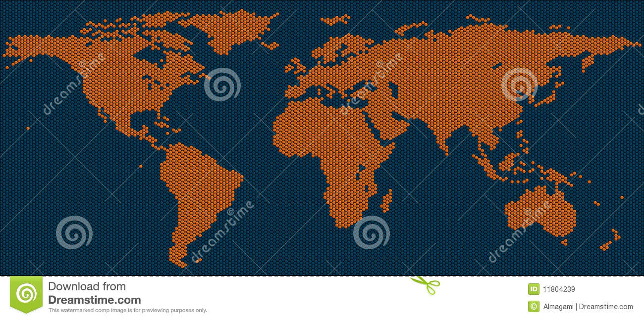World Map Of Hexagon Tiles Stock Illustration