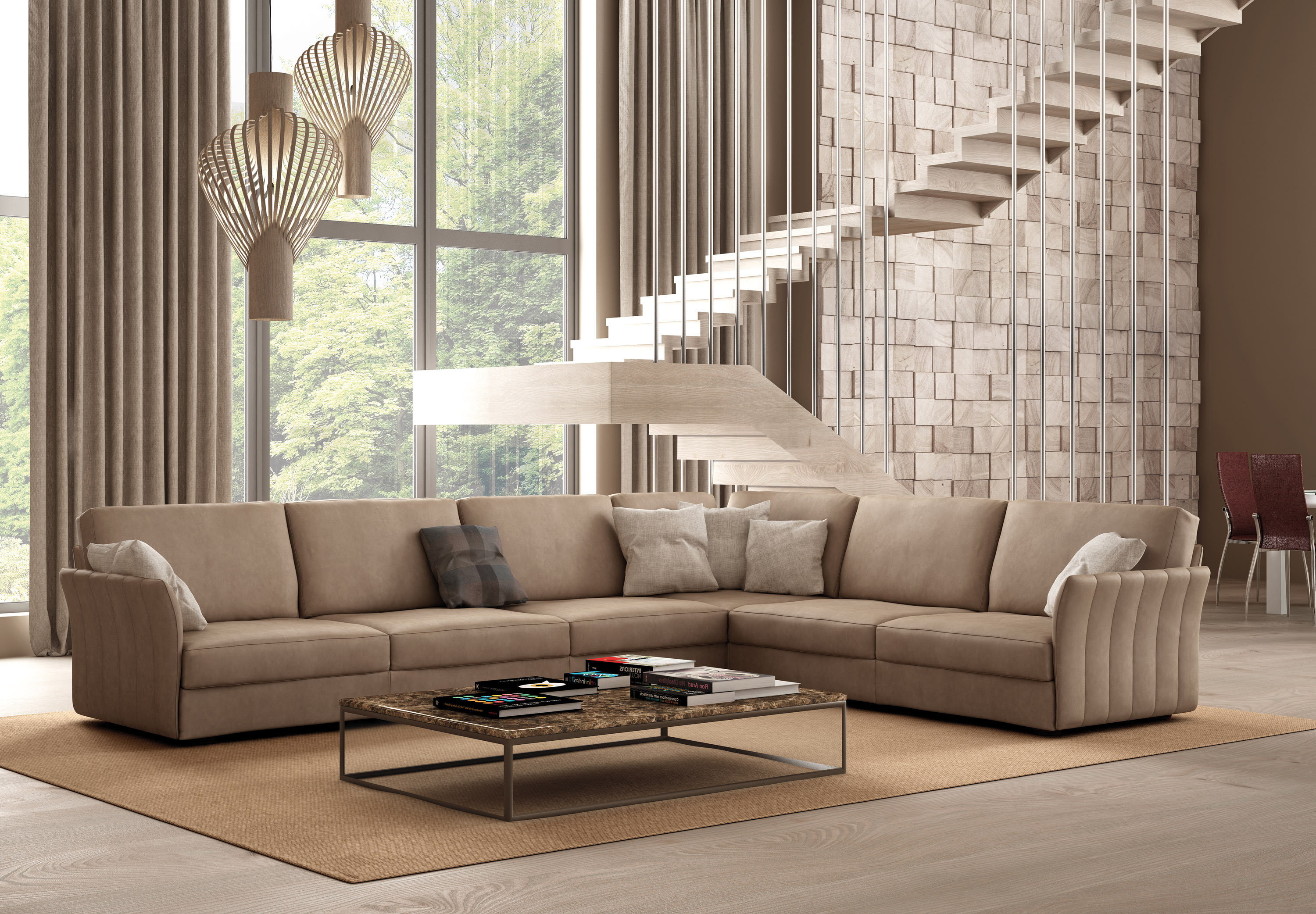 Italian Sectional Sofa Set in Luxury Leather Fort Worth ...