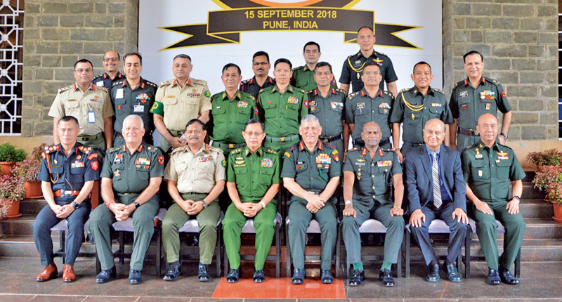 Army Commander Lt. Gen. Mahesh Senanayake and BIMSTEC Army Chiefs who participated at the Conclave in Pune, India pose for a group photograph.