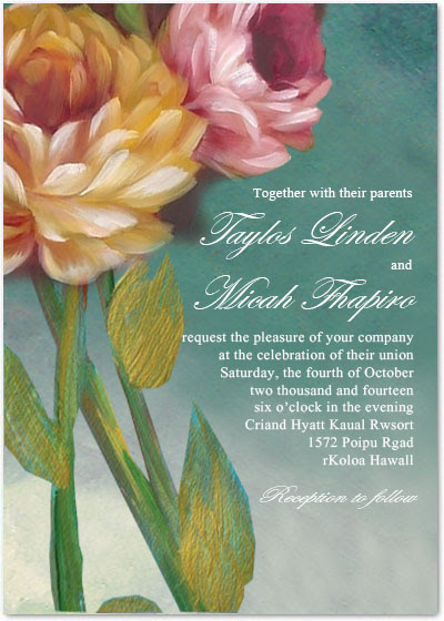Beautiful Oil Painting Flower Wedding Party Invitations HPI081 [HPI081]