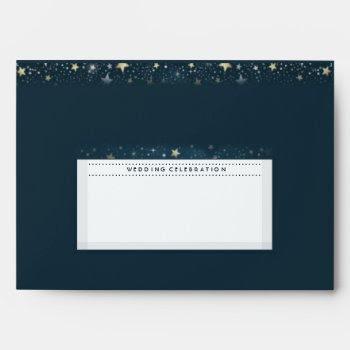 Teal Gold White Moon & Stars Wedding Celebration Envelope by juliea2010 at Zazzle