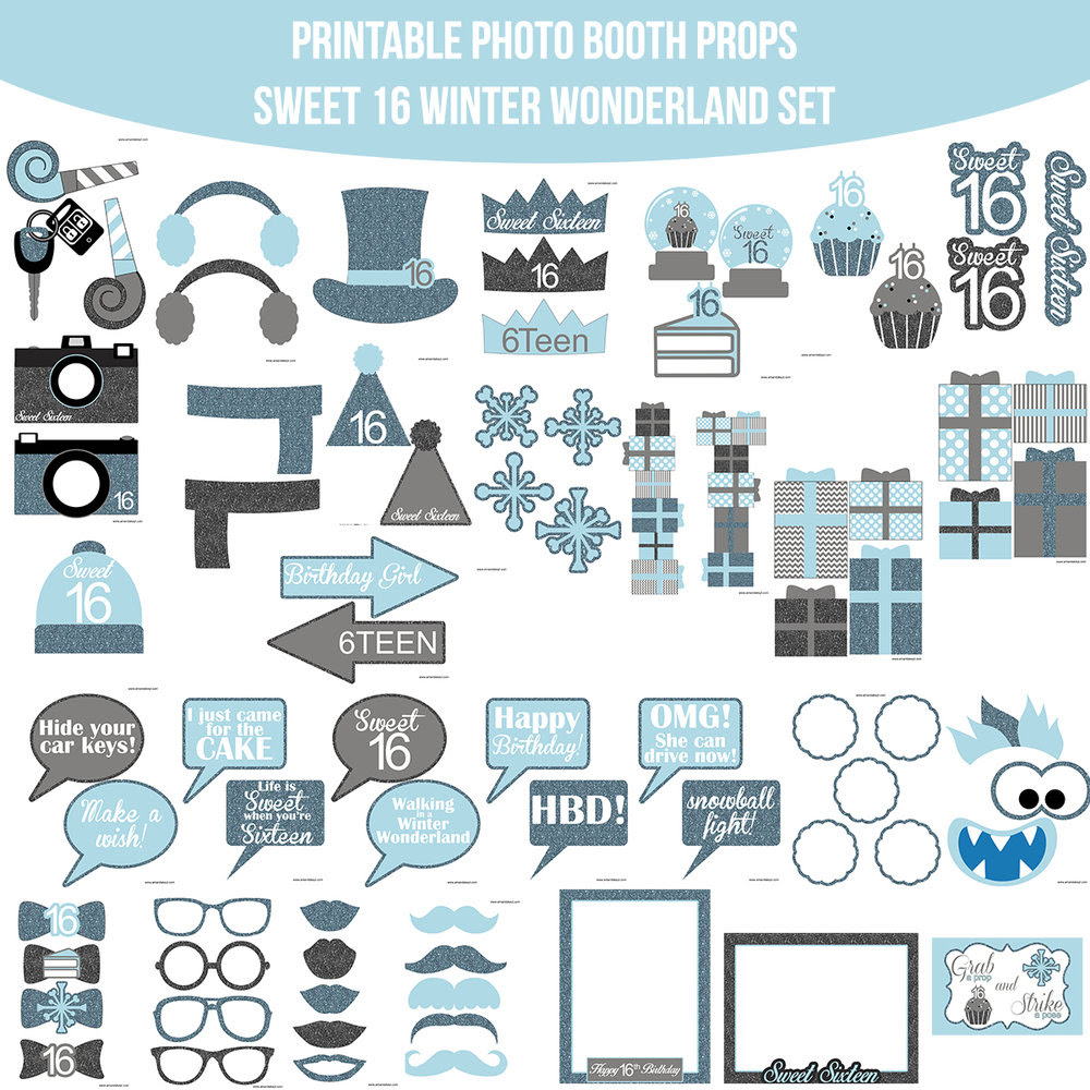 Instant Download Sweet 16 Winter Wonderland Photo Booth Prop Set