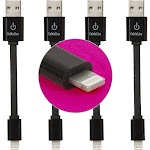 CableLinx Value Pack - Lightning cable - flat - Black - 3.5 in - M 4 pin USB Type A to M Apple Lightning - pack of 4