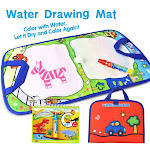 Jenilily Water Doodle Mat Travel Ativities Book Magic Water Drawing Mat for Toddlers Magic Pen Painting with Water Toy for Kids Red