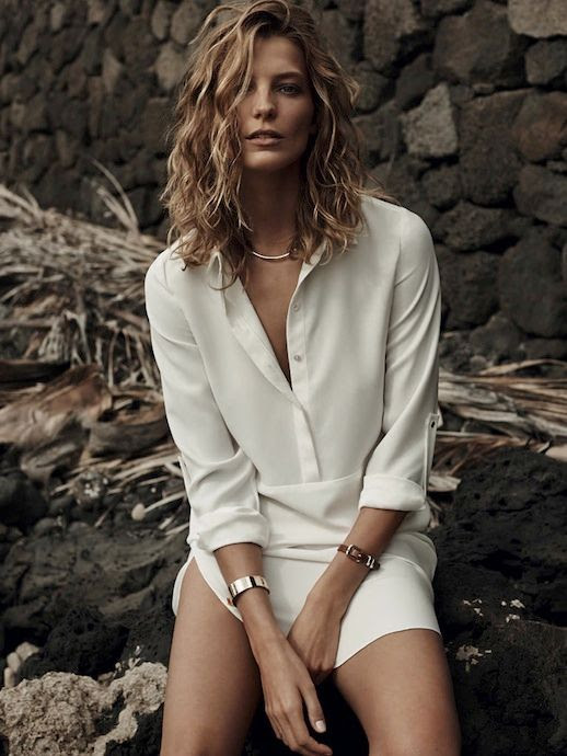LE FASHION BLOG DARIA WERBOWY MANGO SPRING 2014 CAMPAIGN WHITE SILK BLOUSE SHIRT DRESS GOLD CUFF LEATHER BRACELET SIMPLE MINIMAL GOLD NECKLACE NUDE NAILS MANICURE 9 photo LEFASHIONBLOGDARIAWERBOWYMANGOSPRING2014CAMPAIGN9.jpg