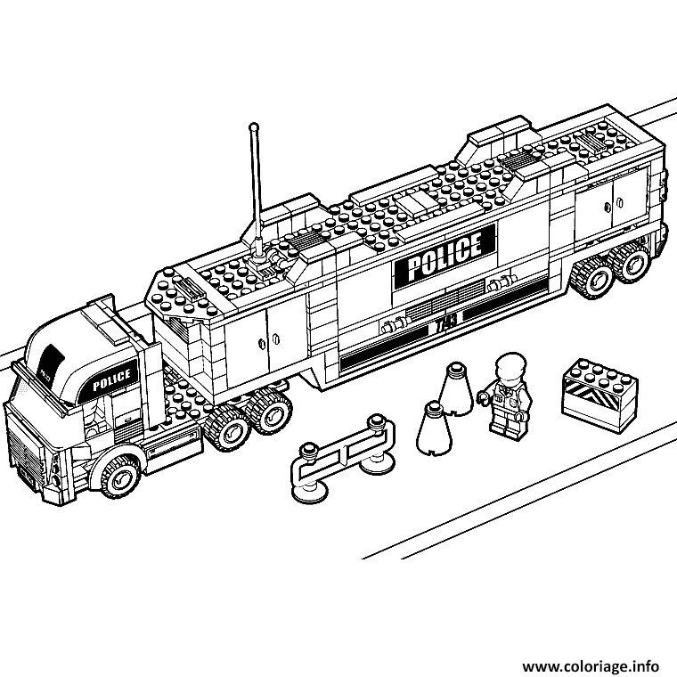 Coloriage Lego City Police Camion Jecoloriecom