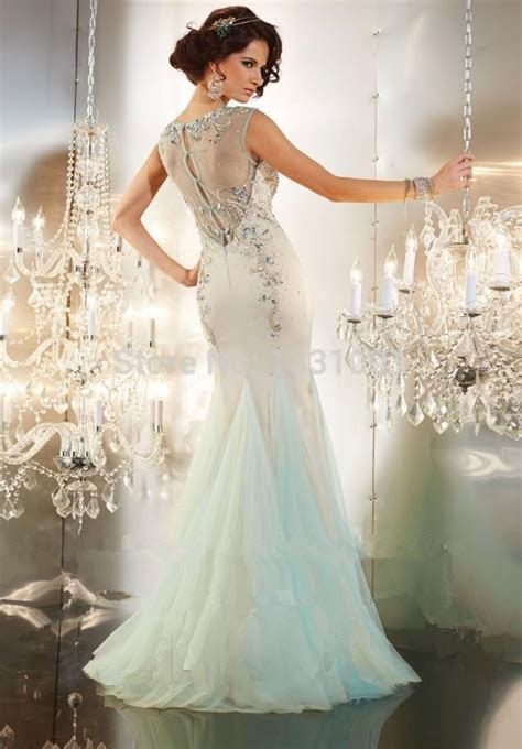 2015 Crystal Mermaid Long Prom Dresses Seafoam Prom Dress
