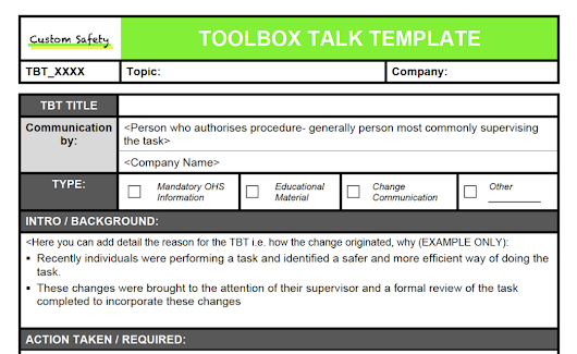 Toolbox safety topics free for Tool box talks template