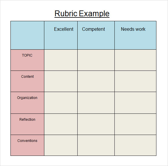 Sample Blank Rubric - 9+ Documents in Word, PDF