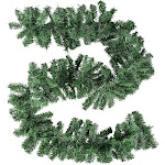 8.8-Foot Christmas Garland - 3-Pack Holiday Artificial Pine Decor, Soft Unlit Plain Green Decorative Garland, Natural Color, Perfect for Diy Wreath,