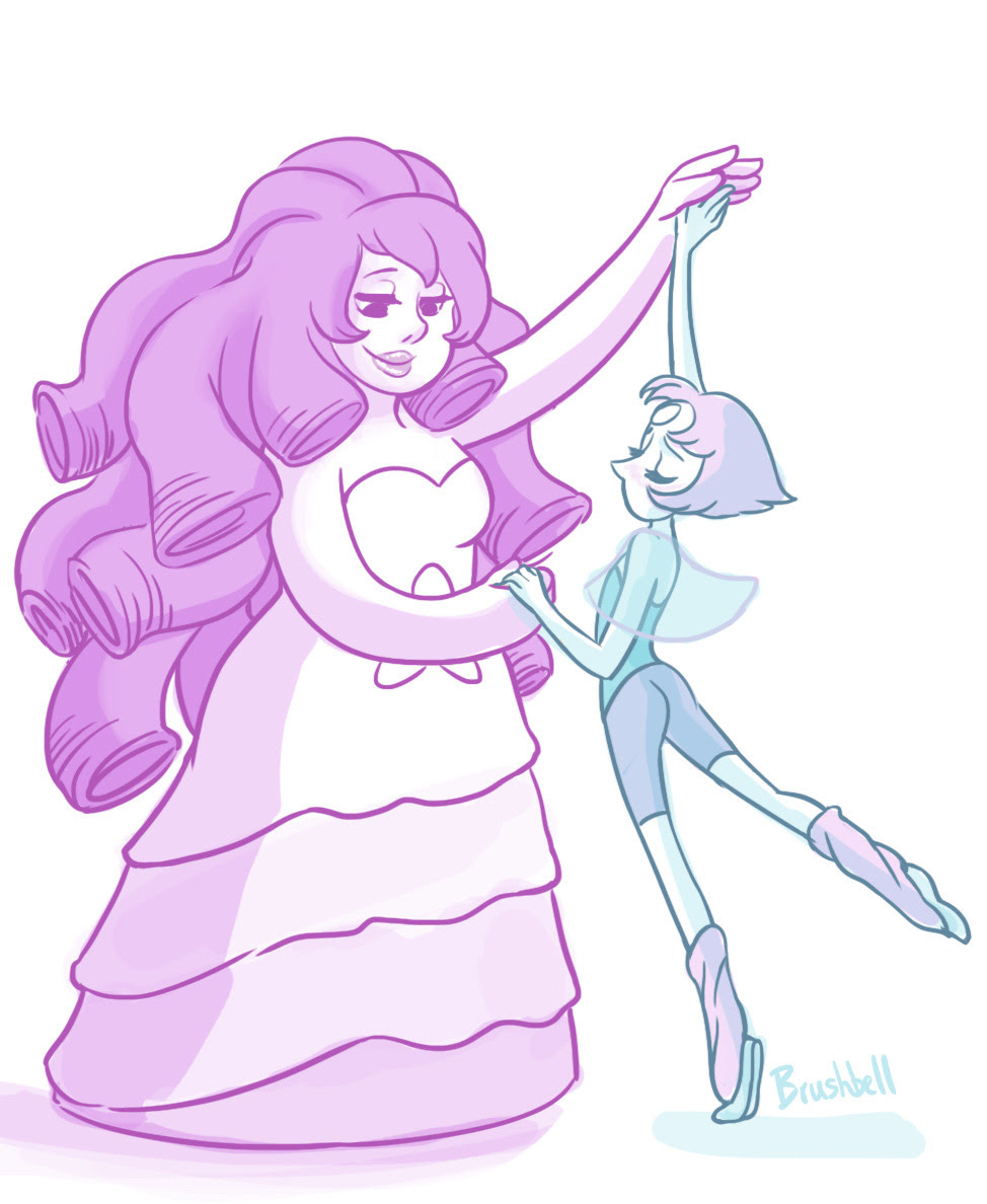 i'm really happy this ended up being my first Steven Universe fanart. young pearl and Rose dancing for their fusion!