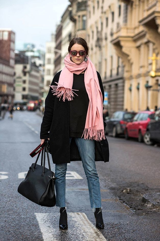 Le Fashion Blog Pink Scarf Oversized Black Coat Plastic Sunglasses Raw Hem Jeans Socks Pumps Tote Bag Via Sara Strand photo Le-Fashion-Blog-Pink-Scarf-Oversized-Black-Coat-Plastic-Sunglasses-Raw-Hem-Jeans-Socks-Pumps-Tote-Bag-Via-Sara-Strand.jpg