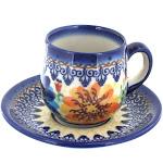 Polish Pottery Autumn Burst Espresso Cup & Saucer