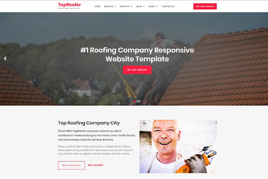 Roofing Service Website Template - Graphic Ghost