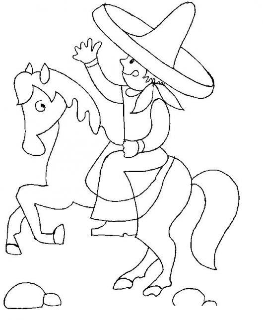 Dibujo De Charro Mexicano A Caballo Para Pintar Y Colorear