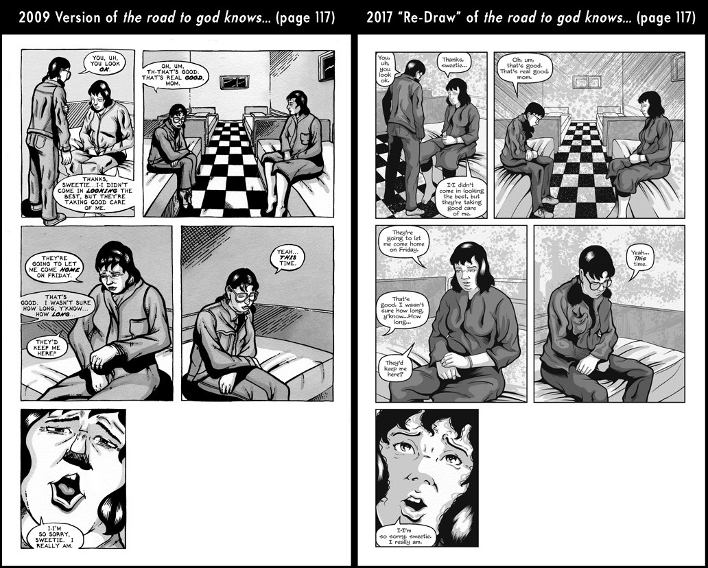 Comparison between page 117 from the 2009 published version of the road to god knows... and the 2017 redrawn version by Von Allan