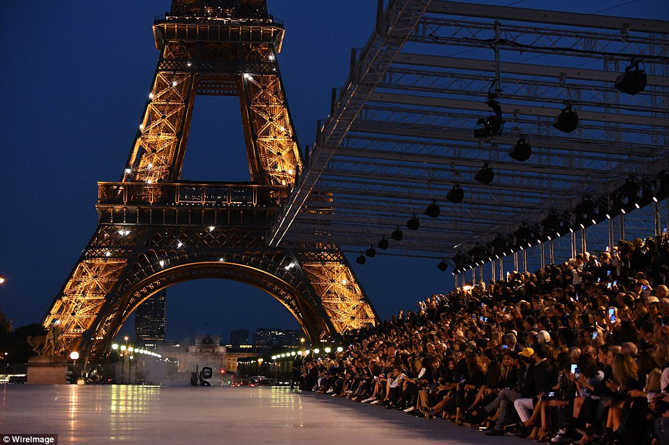 Breathtaking: The show was held in front of the Eiffel Tower and made for one of the most spectacular events of the fashion weeks