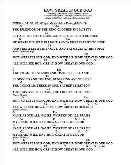 How Great Is Our God Lyrics And Chords Key Of D