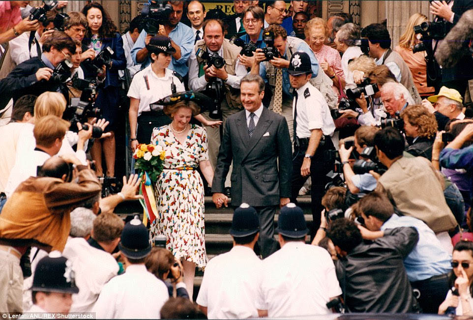 Raine, Countess Spencer, and her new husband Comte Jean-francois De Chambrun, are seen leaving their wedding in 1993