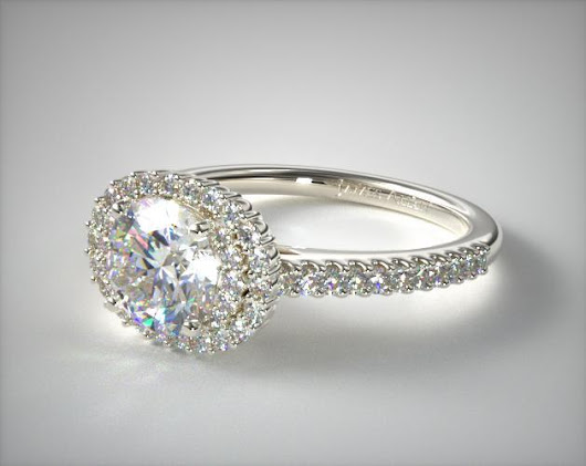 18K White Gold East West Oval Halo Engagement Ring