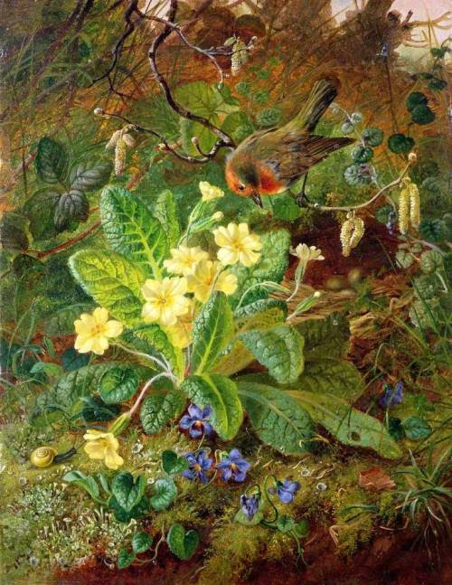 "indigodreams:  artsandcrafts28: John Wainwright - ""Primrose and Robin"" 1864"