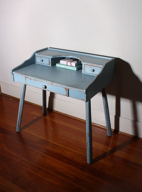 Vintage Shabby Chic blue French style desk / vanity SOLD