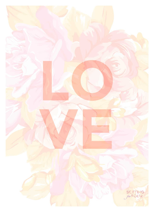 FREE Floral iPhone, iPad Wallpaper and Printable Art - Setting for Four
