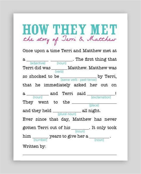 How They Met #Wedding #Mad #Lib  click on the picture to