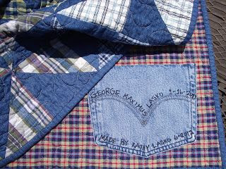 Handicrafty Sisters: More Boy Quilts - quilt label idea