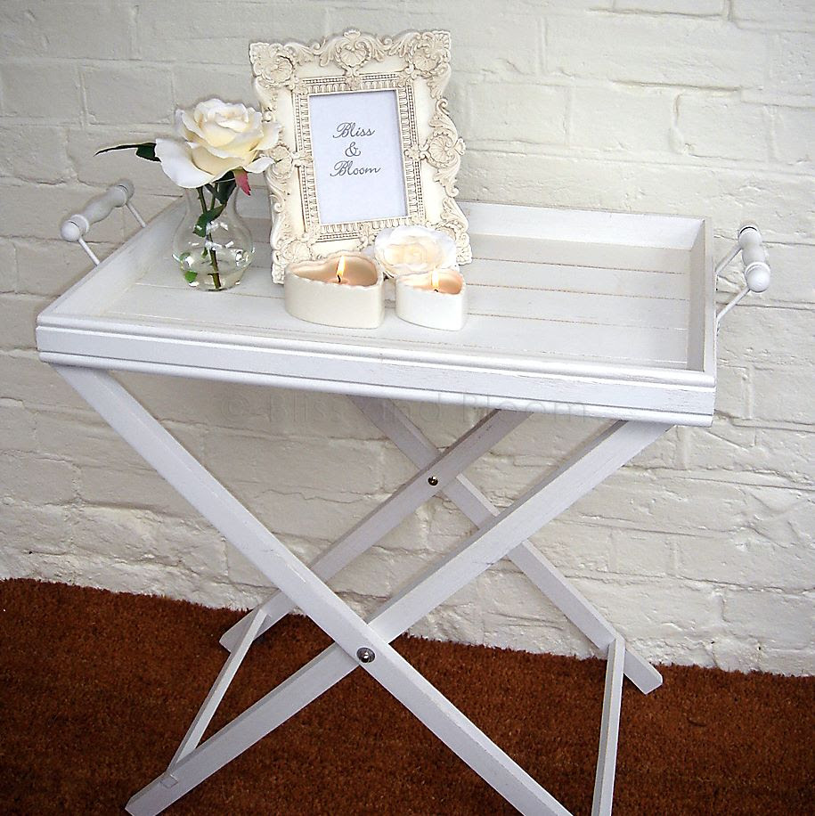 White butler tray on stand :: Bliss and Bloom Ltd