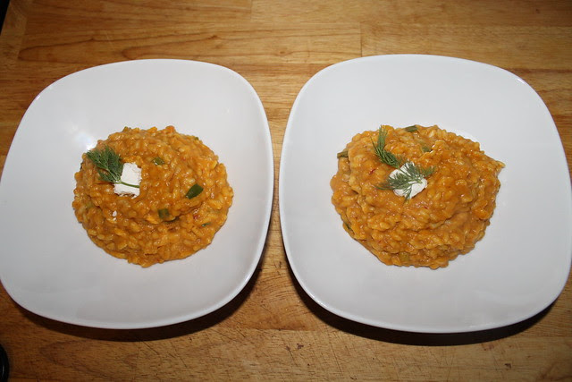 Pumpkin and goat cheese risotto recipe