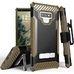 Galaxy Note 9 Case with Clip, Brown Tri-Shield Rugged Cover and Belt Hip Holster [with Kickstand + Wrist Strap] for Samsung Galaxy Note 9 (SM-N960)