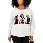 Karen Scott Womens Plus Cats Graphic Knit Christmas Sweater Gray 1X