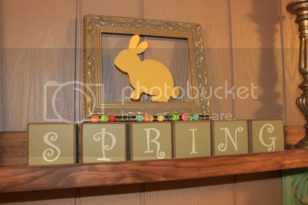 """easter bunny cutout in a frame + jelly bean """"bunny poop"""""""
