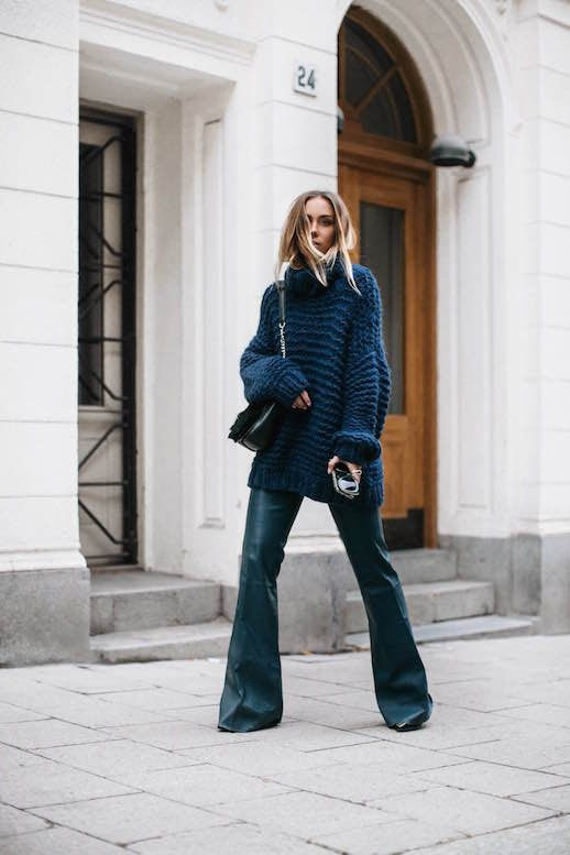 Le Fashion Blog Blue Knitted Sweater Teal Leather Pants Black Purse Via Lisa Place