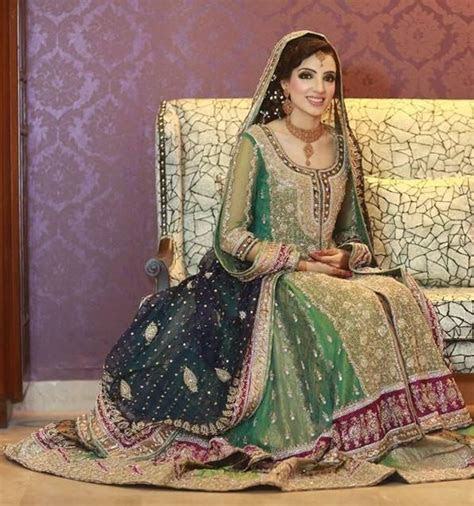 green wedding dress   Pakistani Couture    Pinterest