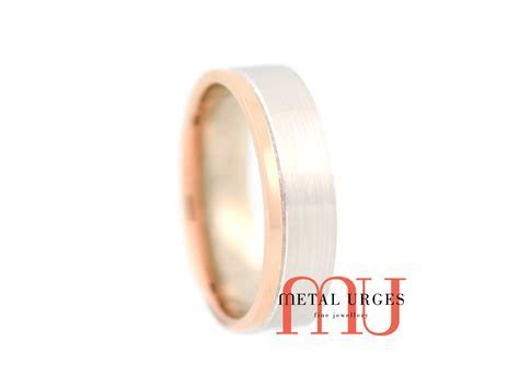 White and rose gold wedding ring. Custom made in Australia