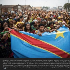Congolese women protesting against Rwandan support to M23