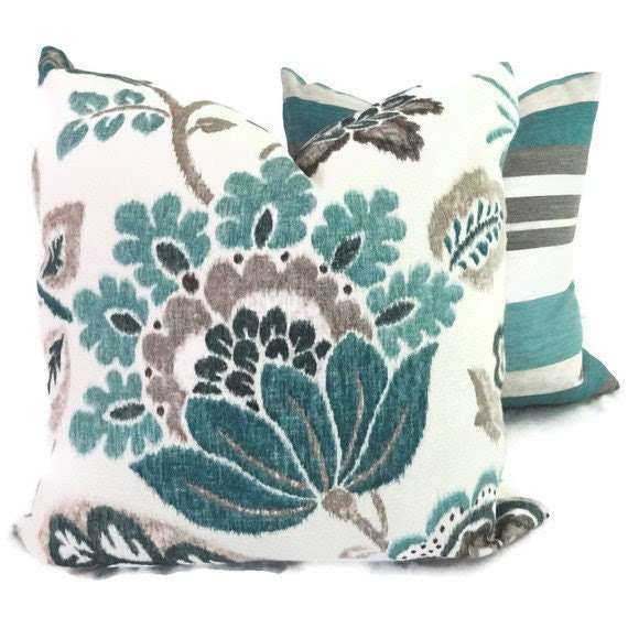 Turquoise, Teal and Gray Jacobean Floral  Pillow Cover 18x18, 20x20 or 22x22 or lumbar pillow, Accent pillow - PopOColor