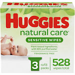 Huggies Natural Care Sensitive Baby Wipes, Unscented Refill Packs - 3pk/528ct