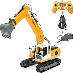 Best Choice Products 1/16 Scale 17-Channel Rechargeable RC Excavator Construction Truck w/ Shovel, Drill, Grasp - Yellow