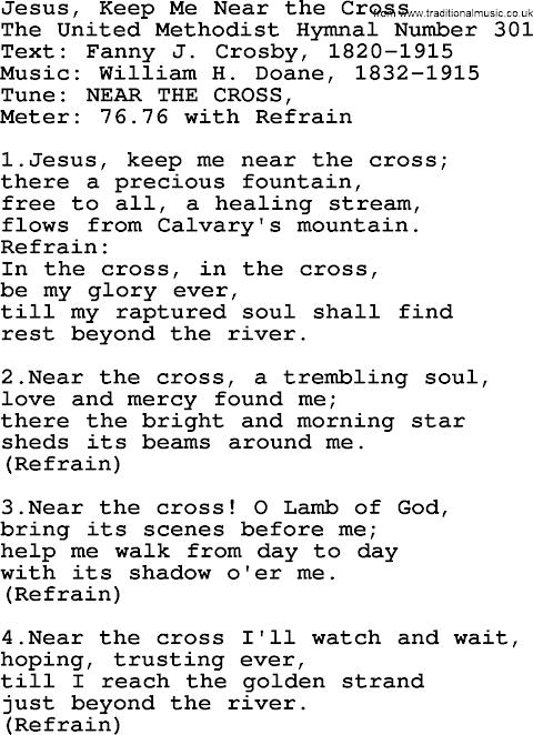 Jesus Keep Me Near The Cross Lyrics Fanny Crosby