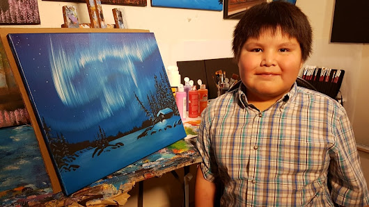 See what this 9-year-old Tlicho boy can paint, inspired by his artist father