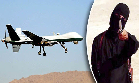 US Reaper drones, pictured, are targeting British fighters including Mohammed Emwazi (also pictured)