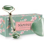 NSOSAUE Jade Roller for Face - Gua Sha Tools - Aging Wrinkles,Puffiness Facial Skin Massager - Premium Authentic Jade Stone (Green)