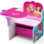 Delta Disney Princess Chair Desk with Storage, Pink/White