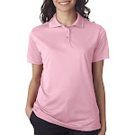 8394l UltraClub Ladies' Polo with Tipped Collar - Pink Small