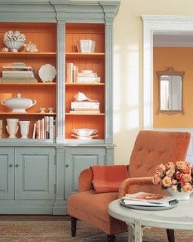 I Love This Wythe Blue Bookcase With The Tangerine Tango Inside Two Of My Favorite Colors