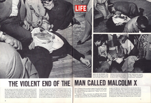 Malcolm X being held by Yuri Kochiyama, supposedly being given cpr by undercover police infiltrator Gene Roberts and viewed by wife Betty Shabazz. by Pan-African News Wire File Photos