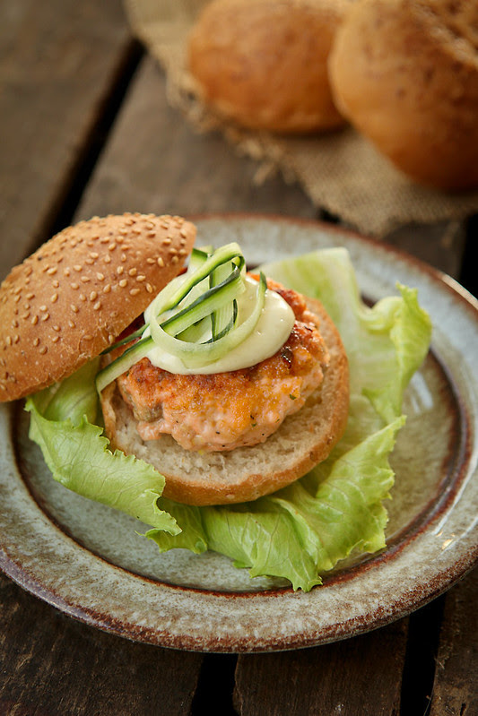 salmon wasabi burger
